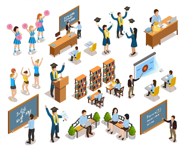 College university people isometric icons collection Free Vector