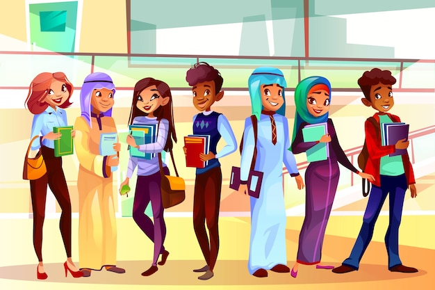 College or university students illustration of classmates of different nationalities Free Vector