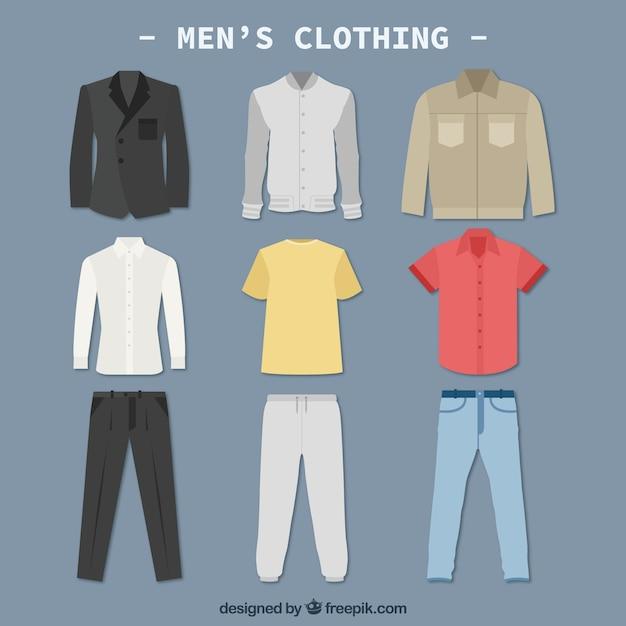 Мужчины одежду colletction Бесплатные векторы