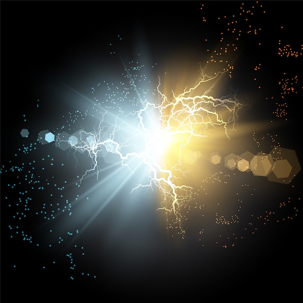 Collision of two forces of blue and gold magical plasma. Premium Vector