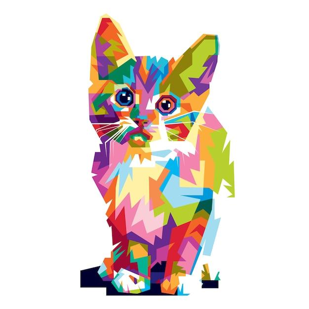 Collorfull Cat Premium Vector