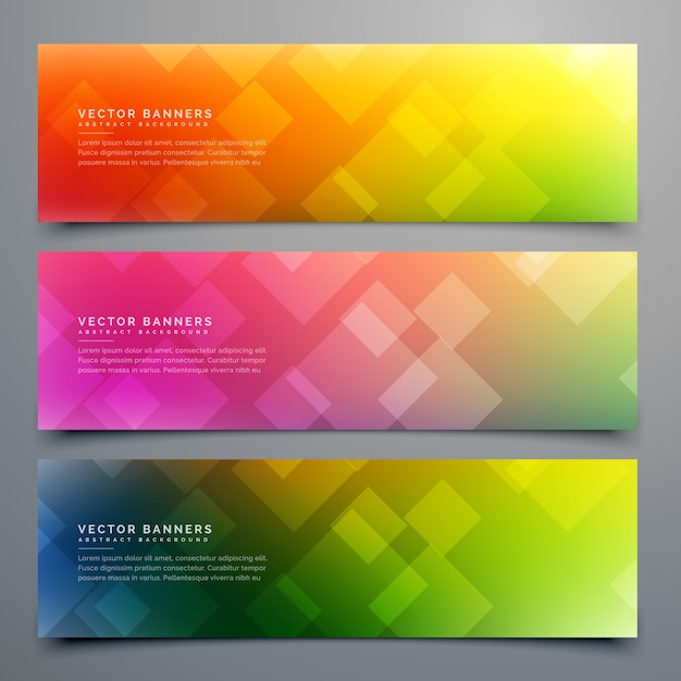 Coloful abstract banners Free Vector