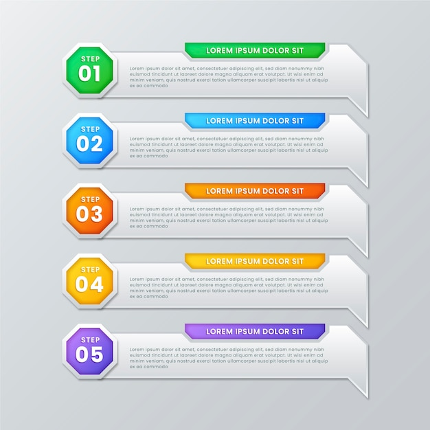 Coloful gradient infographic steps Free Vector