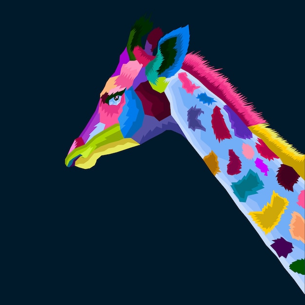 Colofull giraffe pop art vector Premium Vector
