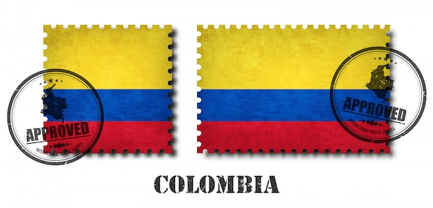 Colombia or colombian flag pattern postage stamp Premium Vector