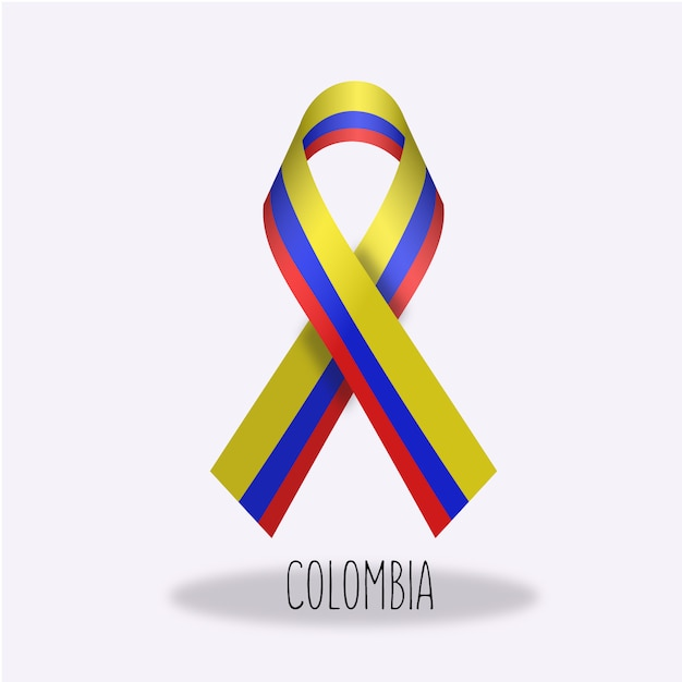 Colombia flag ribbon design Free Vector