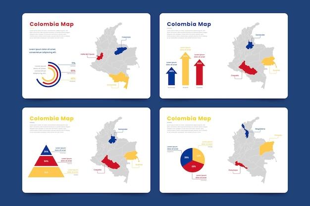 콜롬비아지도 infographic 무료 벡터