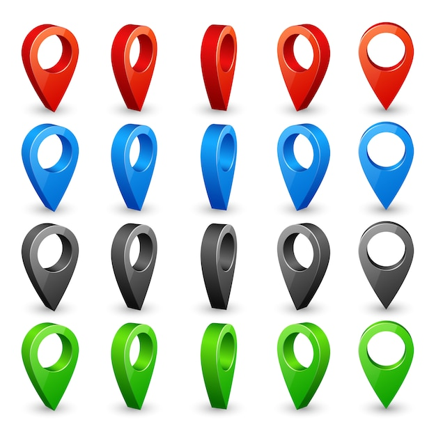Цветная 3d карта булавки. поместите местоположение и значки назначения. Premium векторы