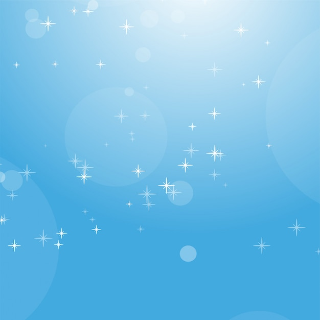 Color abstract background of blue sky with bokeh and stars. Premium Vector