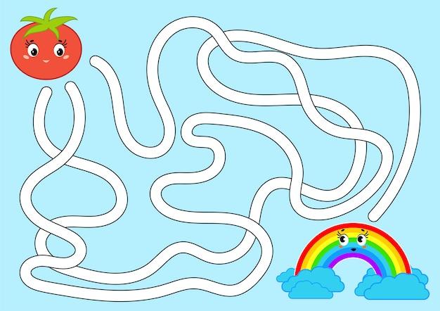 Цвет абстрактного лабиринта. помогите помидору добраться до радуги. Premium векторы
