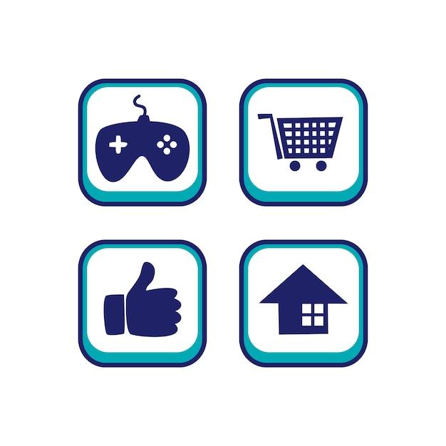 Color app icon button game asset theme vector Vector ...