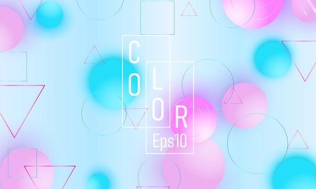色の背景。ピンクとブルーの柔らかい球。流体パターン。 3dの幾何学的形状。 Premiumベクター