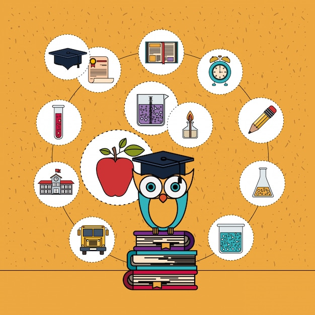 Color background with sparkles of owl on stack of books with education element icons Premium Vector
