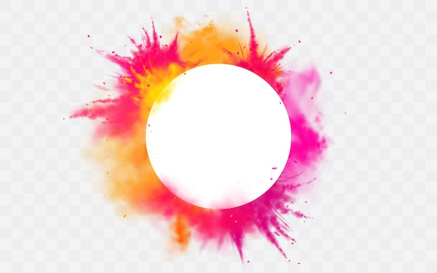 Color banner splash holi powder paints round dye border Free Vector