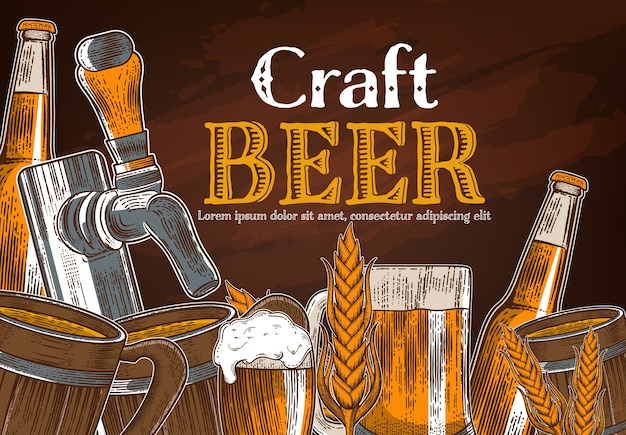 Color beer glass Premium Vector