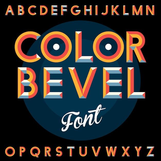 검은 그림에 알파벳 컬러 베벨 빈티지 글꼴 포스터 무료 벡터