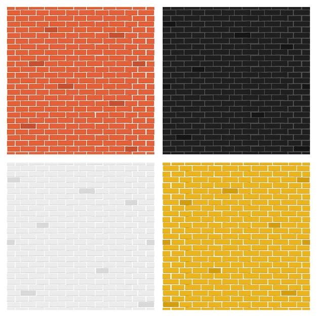 Color brick textures collection. Premium Vector