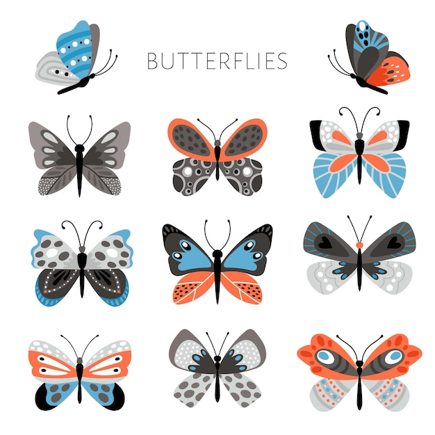Color butterflies and moths illustration. vector pretty colorful butterfly set for kids, tropical spring insects in blue and pink colors on white background Premium Vector