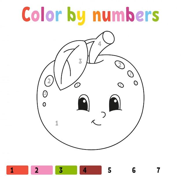 Color by numbers apple worksheet Premium Vector