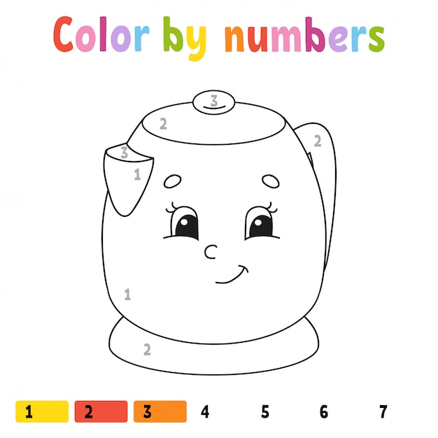 Color by numbers, coloring book for kids Premium Vector