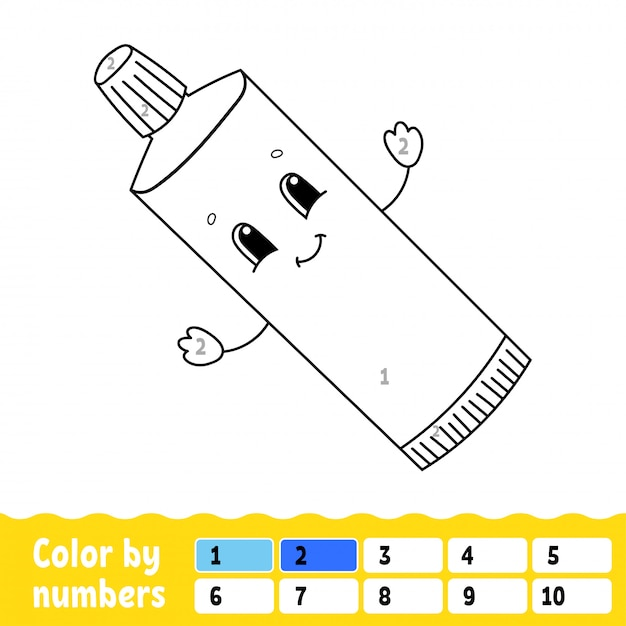 Color by numbers. Premium Vector