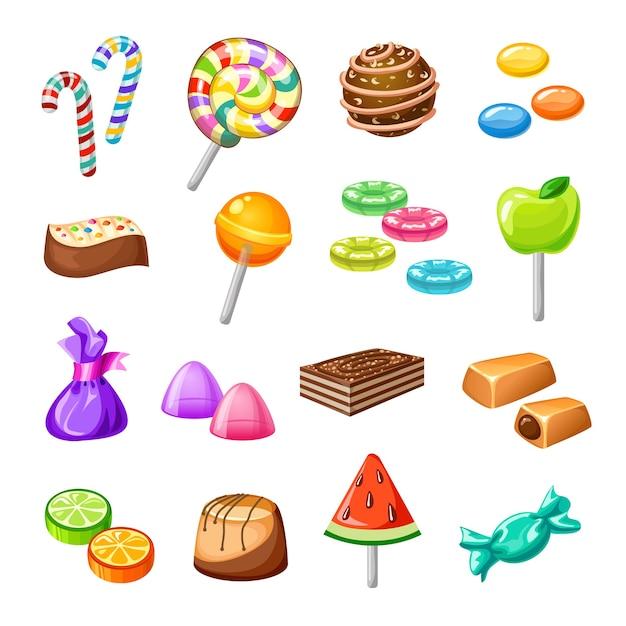 Набор иконок цвет конфеты Бесплатные векторы