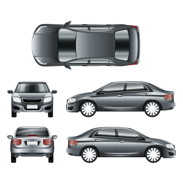 Color car sedan in different point of views Premium Vector