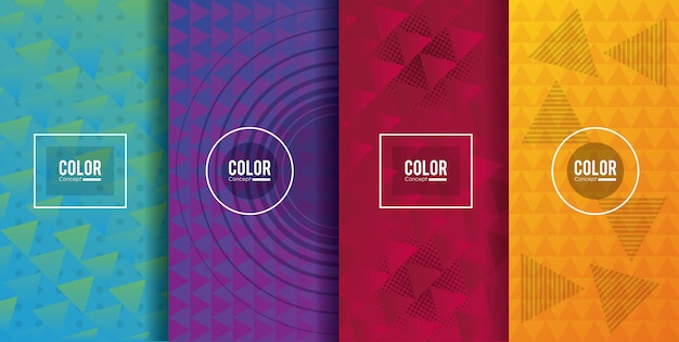 Color cards concept Premium Vector