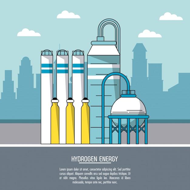 Color city landscape background hydrogen energy production plant Premium Vector