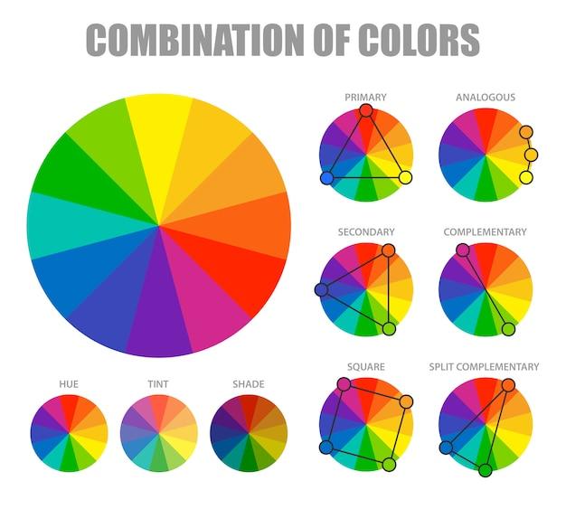色の組み合わせスキームのインフォグラフィック 無料ベクター