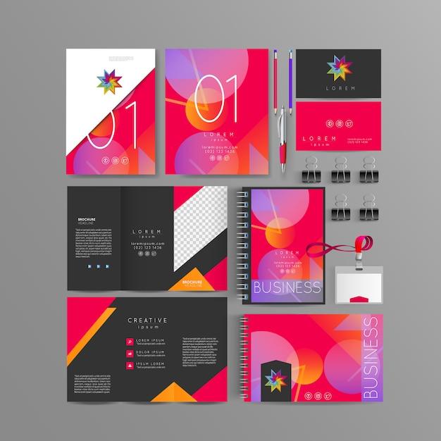 Color corporate identity template design Premium Vector