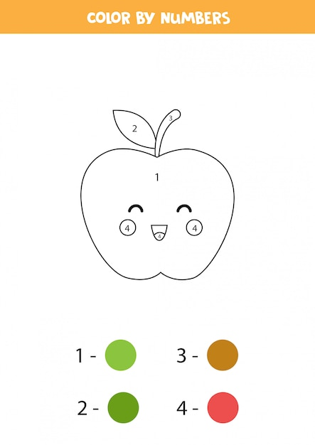 Premium Vector Color Cute Kawaii Apple By Numbers Educational Math Game For Kids Funny Coloring Page Activity Page For Preschoolers