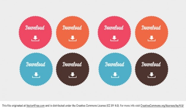 Color download button badges Free Vector