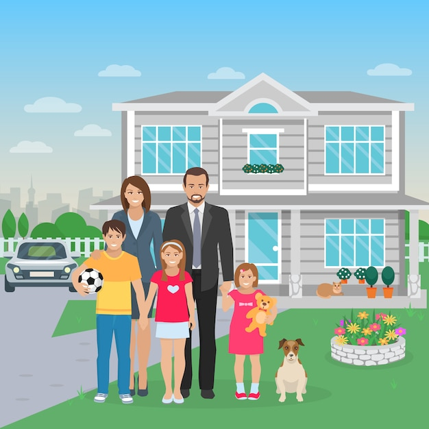 Color flat illustration big happy family with dog in the yard Free Vector