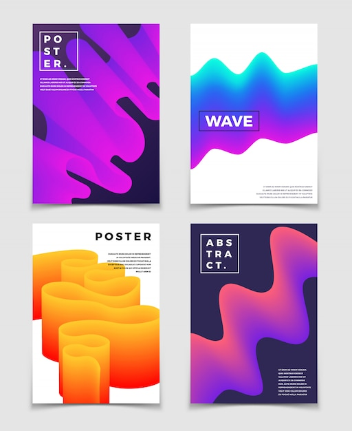 Color Fluid Dynamic Shapes Cool Abstract Backgrounds Set