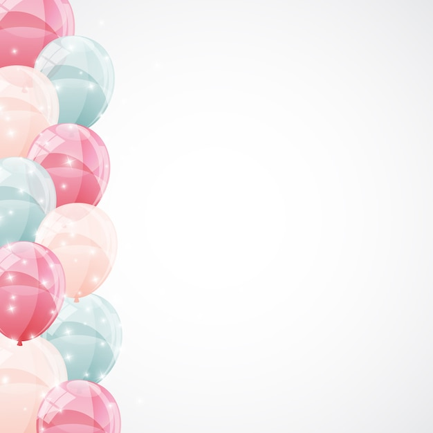 Color glossy balloons background  illustration Premium Vector