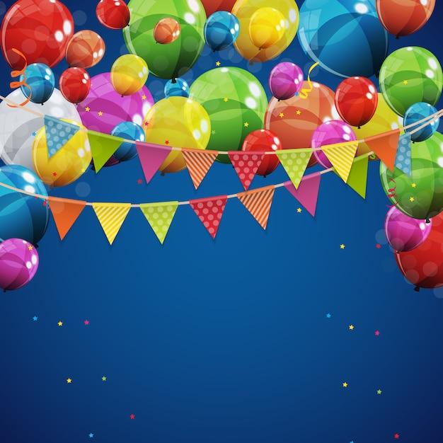 Color glossy happy birthday balloons background vector illustration Premium Vector