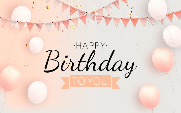 Color glossy happy birthday balloons banner background illustration Premium Vector