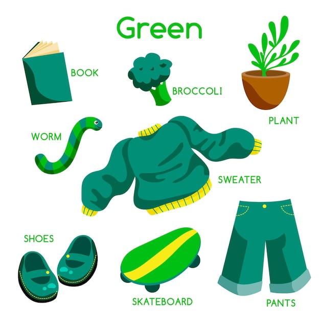 緑の色と英語で設定された語彙 無料ベクター