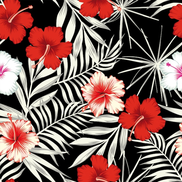 Color hibiscus on the black white leaves seamless pattern wallpaper Premium Vector