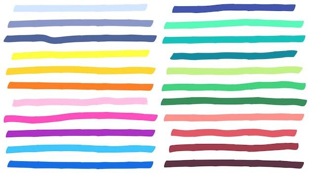 Tratti di linee di evidenziazione del colore. punti salienti colorati, strisce di marcatori e evidenziazione della linea gialla Vettore gratuito