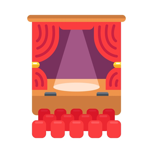 Color icon of the theater. the curtain and spotlight shines on the stage.  illustration. Premium Vector