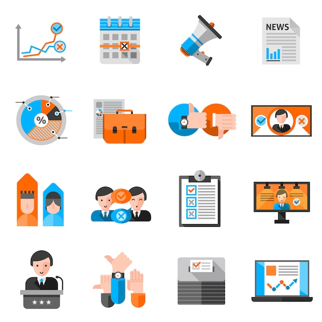 Color icons for elections voting Free Vector