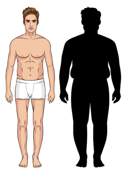 Color illustration of a man. male transformation. silhouette of men with overweight. Premium Vector