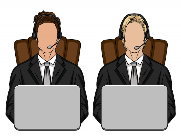 컴퓨터 앞에 의자에 사무실에 앉아있는 남자의 컬러 일러스트. 한 벌의 두 사람으로 구성된 팀이 고객 지원 사무소에서 일합니다. 서비스 센터 용 템플릿 프리미엄 벡터