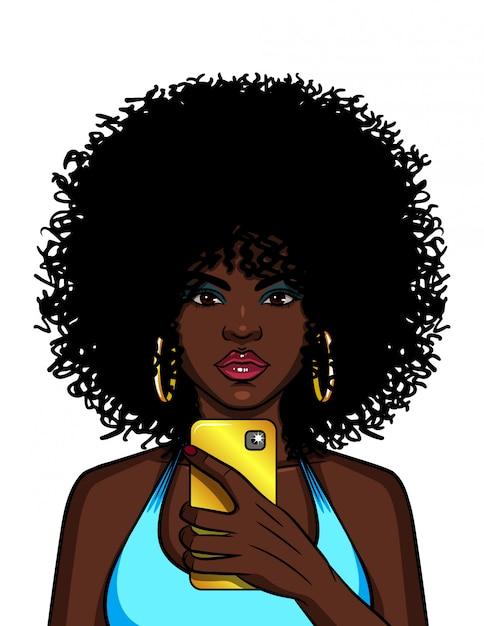 Цветная иллюстрация афро-американской женщины делают селфи. модная девушка фотографирует себя на телефоне. Premium векторы