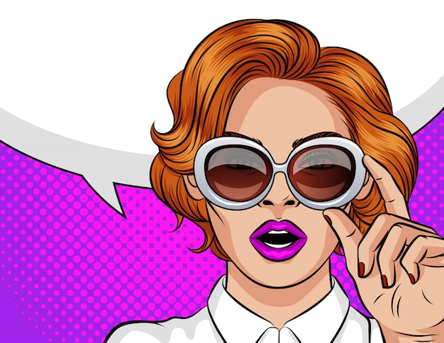 Color  illustration in pop art style. a girl with red hair wearing sun glasses. Premium Vector