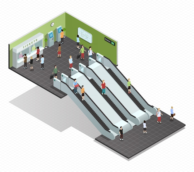 Color isometric composition depicting subway entrance underground stairs escalator Free Vector