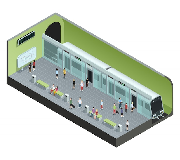 Color isometric concept depicting subway station with train and people Free Vector