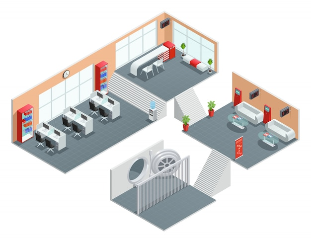 Color isometric design of bank room Free Vector